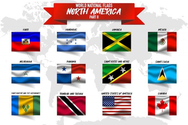 世界地図背景に北アメリカ国の国旗のセット。