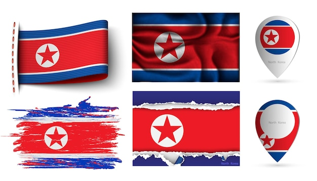 北朝鮮の旗のセット
