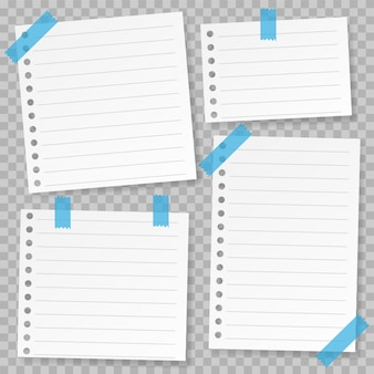 Set of note paper template with blue tape