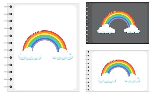 虹のパターンと異なるサイズのノートブックのセット