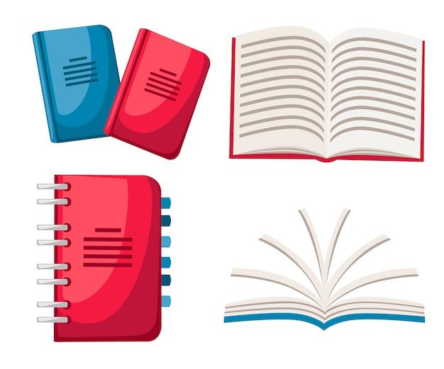 ノートブックのセットです。スパイラルと通常のノートブック。オフィスのアイコン。閉じた状態と開いた状態のノートブック。白い背景の上の図