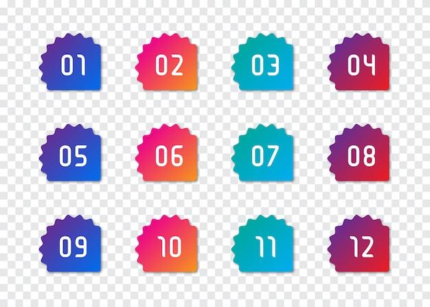 Набор номера пулевой точки от 1 до 12