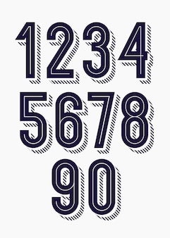 숫자의 집합 3d 대담한 유행 타이포그래피 스타일