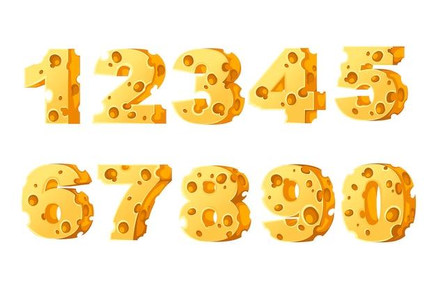 Набор чисел сыр стиль мультфильм еда дизайн плоские векторные иллюстрации, изолированные на белом фоне.