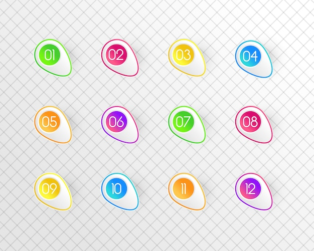 다채로운 숫자의 집합입니다. 색상 번호 집합입니다. 선 스타일로 표시합니다. 귀여운 현대 자본 인물. 삽화,.