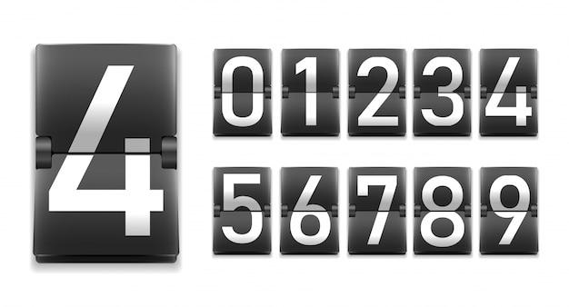 기계적 점수 판 스타일의 숫자, 숫자 세트
