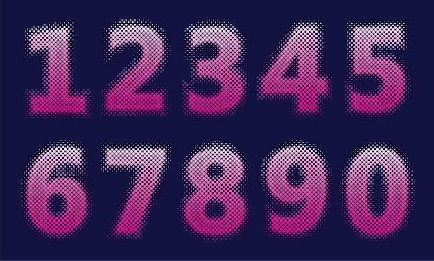 Набор чисел в стиле полутонов