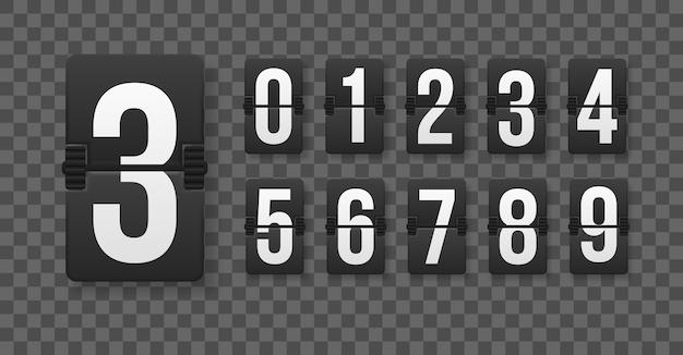 機械的なスコアボード上の数字のセット。異なる数のカウントダウンタイマーのクリエイティブなイラスト。時計カウンターアートデザイン。カウントダウンタイマーカウンター時間。