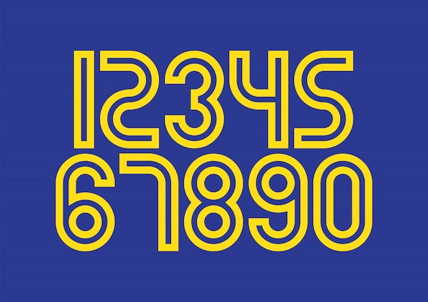 青と黄色のタイポグラフィデザイン要素を持つ数字のセット