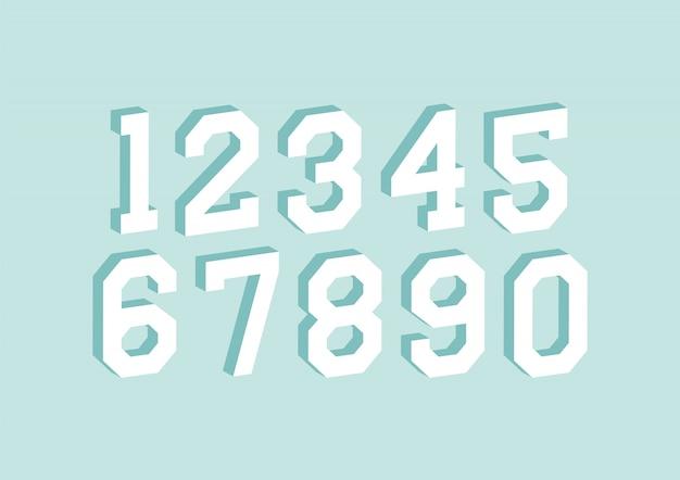 Набор чисел с изометрическим эффектом 3d