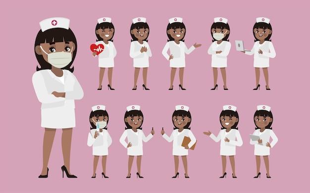 さまざまなポーズの看護師のセット