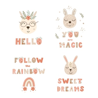 レタリングの引用符とウサギと保育園のポスタープリントのセット。ベクトルイラスト。