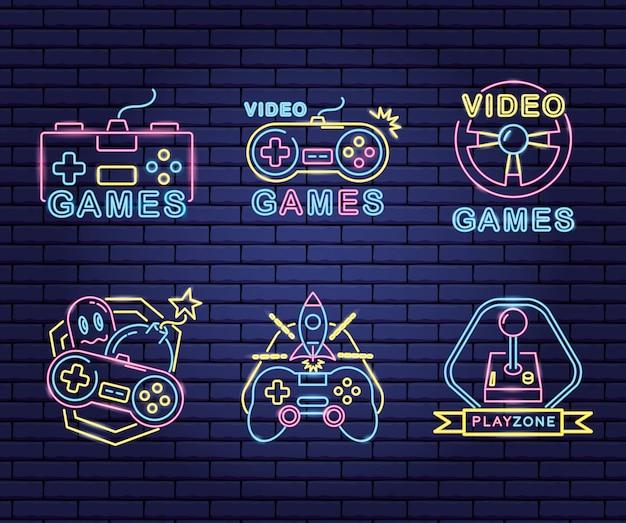 네온과 거짓말 스타일의 비디오 게임과 관련된 객체 세트