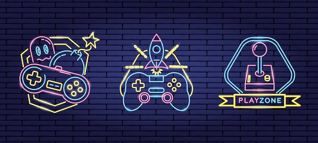 ネオンと線形スタイルのビデオゲームに関連するオブジェクトのセット