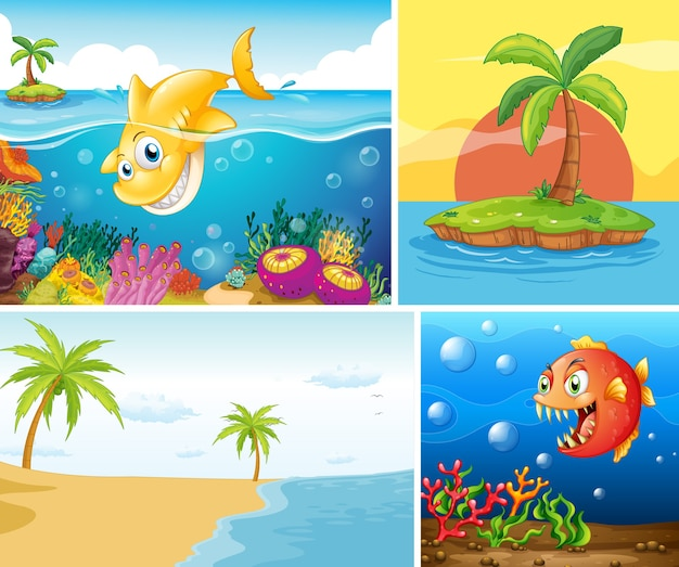 바다 자연 삽화의 세트