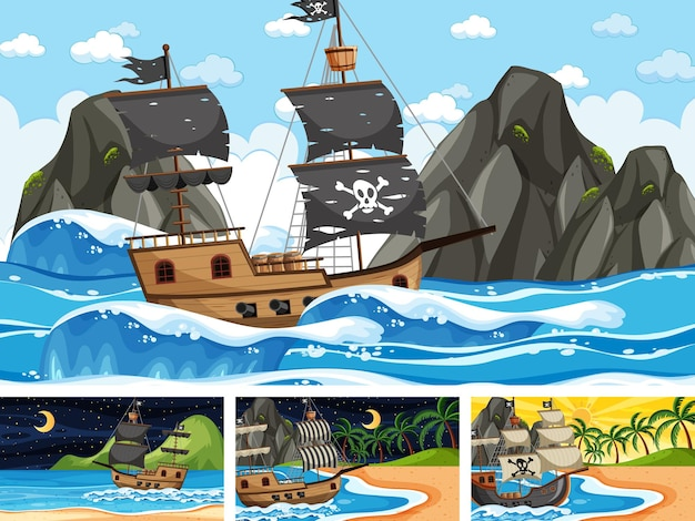 Множество океанских сцен в разное время с пиратским кораблем в мультяшном стиле