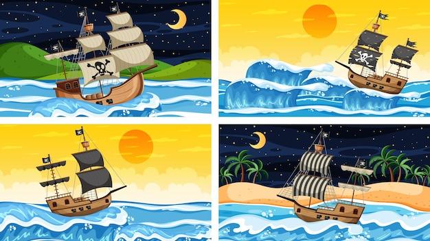 漫画のスタイルの海賊船とさまざまな時間の海のシーンのセット