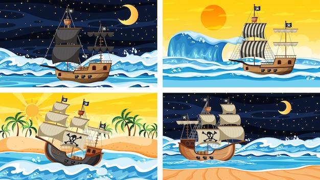 Набор океана с пиратским кораблем в разное время сцены в мультяшном стиле