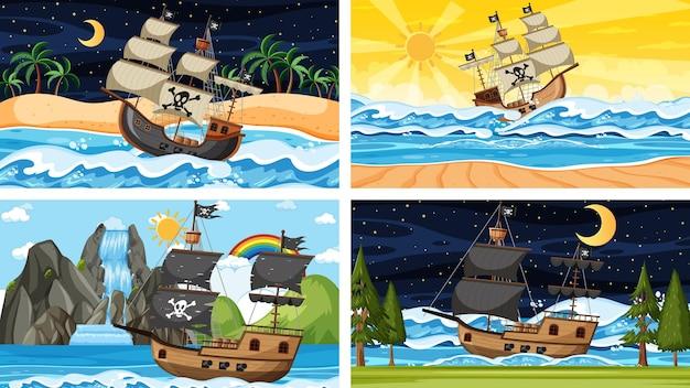 漫画スタイルのさまざまな時間のシーンで海賊船と海のセット