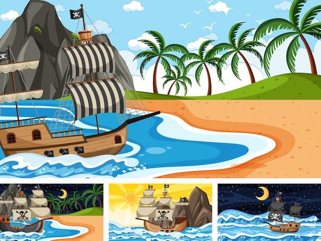 만화 스타일의 다른 시간 장면에서 해적선이 있는 바다 세트