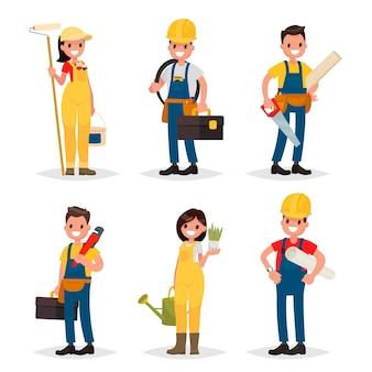 Набор рабочих профессий. маляр, электрик, плотник, сантехник, ландшафтный дизайнер, инженер.