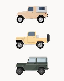 オフロードsuv車のセット。オフロード車。