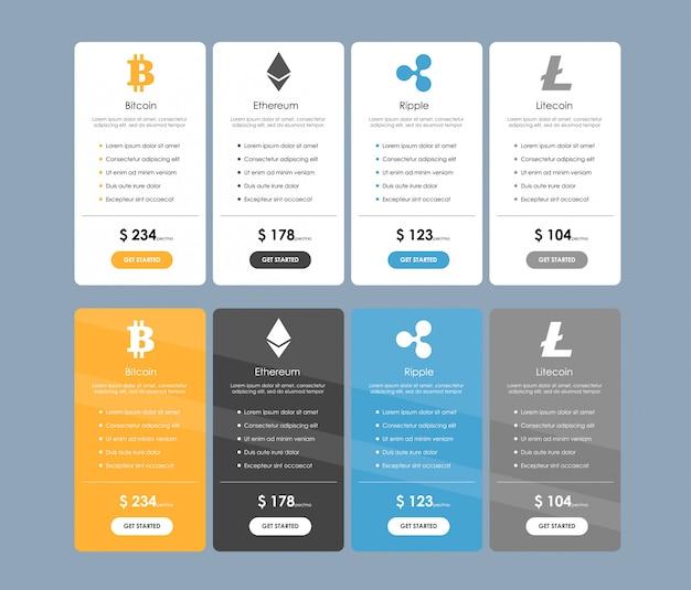 暗号通貨操作のオファー料金のセット。価格表、注文、ボックス、ボタン、フラットなデザインのウェブサイトの計画のリストのセット。