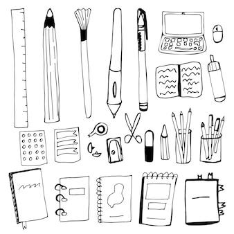 손으로 그리는 스타일의 사무실 액세서리 세트. 펜, 연필, 브러시, 노트북, 컴퓨터 마우스, 숫돌, 지우개, 노트북, 책, 메모장, 더들 스타일의 고리에 있는 폴더. 벡터 일러스트 레이 션입니다.
