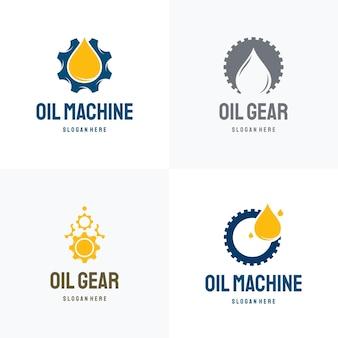 석유 산업 로고 디자인 개념 벡터, 오일 기어 기계 로고 템플릿 기호 집합