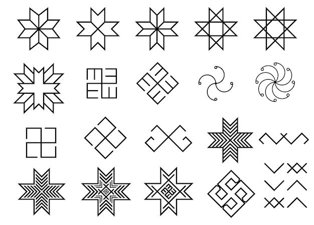 Набор старинных балтийских народных древних латвийских символов
