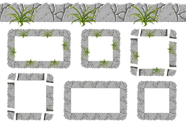오래 된 회색 바위 테두리 및 잔디와 프레임의 집합입니다.