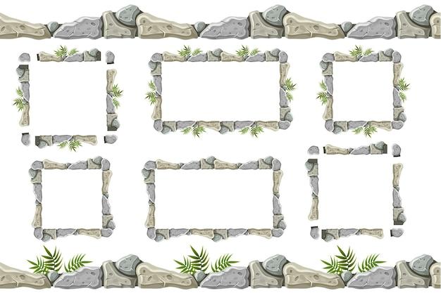 古い灰色の岩の境界線、草とフレームのセット。