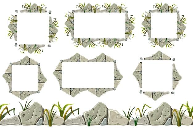 잔디와 오래 된 회색 바위 테두리 프레임 세트