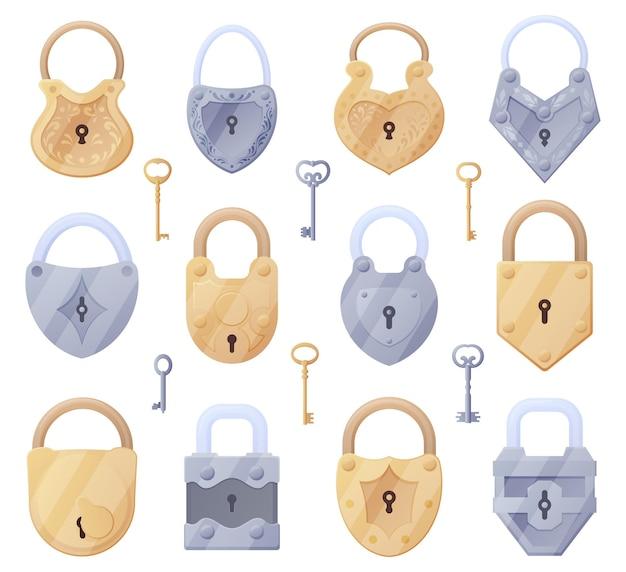 Набор старых замков разной формы, ключей. векторная иллюстрация