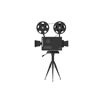三脚に古い映画シネマプロジェクターのセット。白い背景で隔離のモノクロで古い映画プロジェクターの手描きのスケッチ。バナー、チラシ、またはポスターのテンプレートです。図。