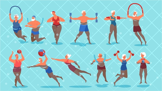 Набор пожилых людей, упражнения в бассейне. пожилой характер ведет активный образ жизни. старший в воде. иллюстрация