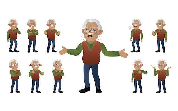 異なる感情を持つ老人のセット