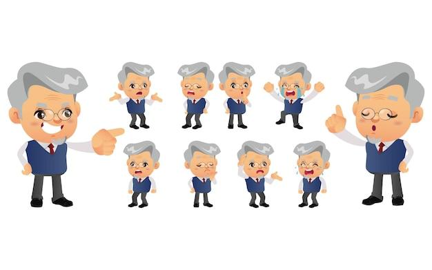 Набор старого человека с разными эмоциями Premium векторы