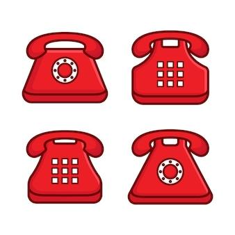 古い赤い電話のロゴのセット