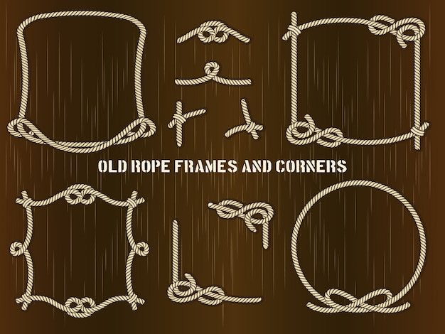 다른 독특한 스타일의 오래 된 로프 프레임과 모서리의 집합입니다.