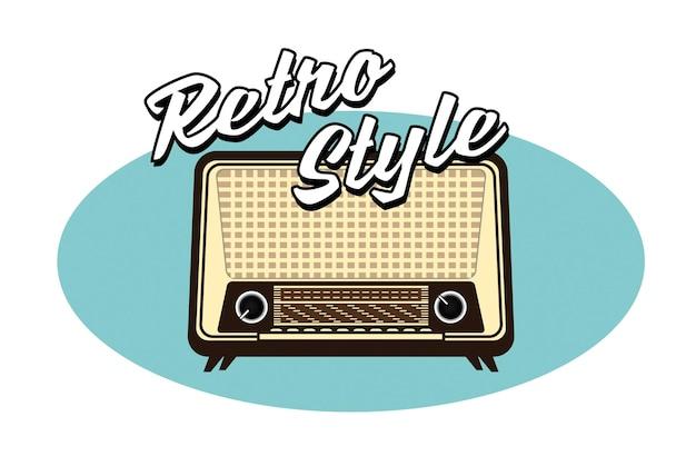 フラットスタイルのepsベクトルの古いビンテージラジオトランジスタタイムラインのセット