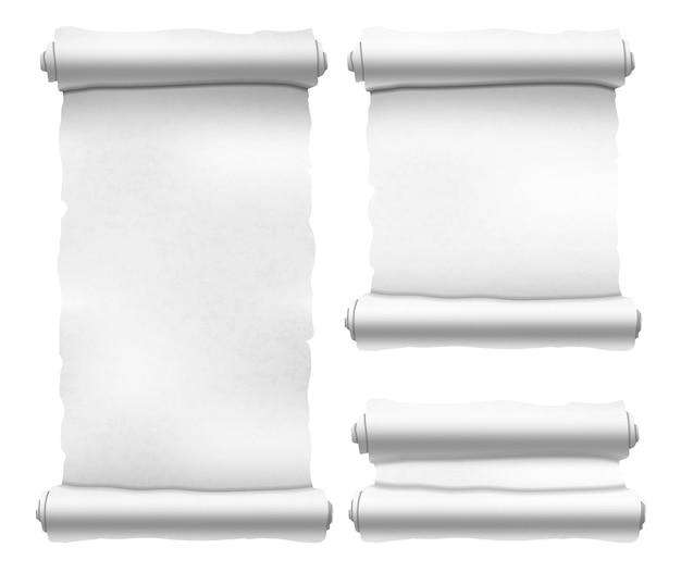 Набор старых белых текстурированных свитков различной формы на белом
