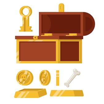 Набор старого деревянного сундука с золотым ключом кости и слитком