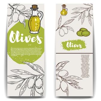 オリーブオイルのチラシテンプレートのセット。ポスター、カード、エンブレム、看板、ラベルの要素。図