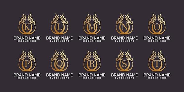 Набор букв от k до t с логотипом оливкового дерева в стиле линии искусства и креативной концепции