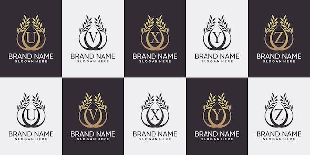 Набор первых букв от u до z с дизайном логотипа оливкового дерева в стиле линии искусства и креативной концепции