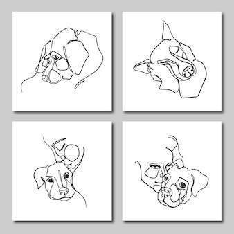 사람과 애완 동물의 한 줄 그림 세트