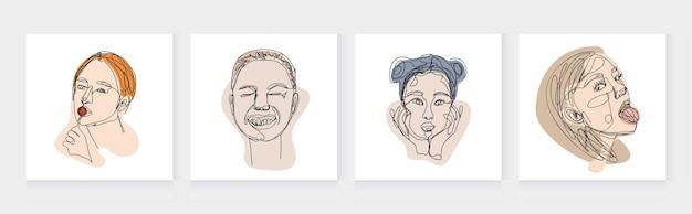ワンラインの肖像画のセット女性抽象的なミニマルな手描きイラスト