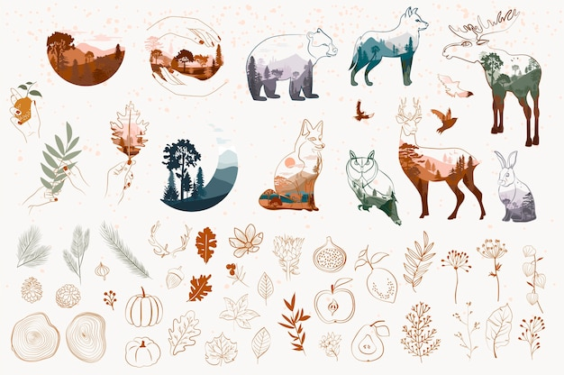 Набор минималистичных осенних объектов в стиле одной линии. аннотация лесные животные, дерево, растения, лист.