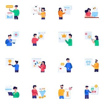 Набор иконок плоский характер интернет-рекламы